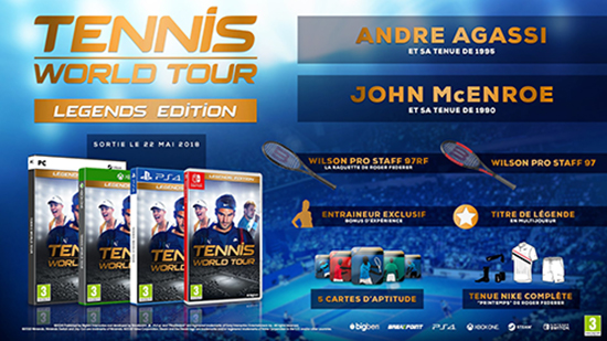 tennis world tour bonus précommande xbox one switch ps4 pc legends edition