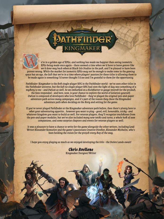 Pathfinder Kingmaker sortie pc steam note