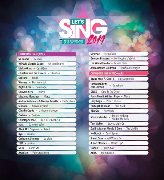 Let's Sing 2019 Hits Français et Internationaux liste complète des titres